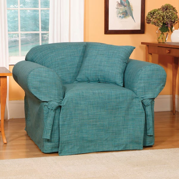 Madras Solid Teal Slipcovers Chair 932468 Overstock