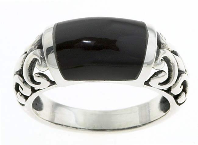 Journee Sterling Silver Created Black Onyx Filigree Ring