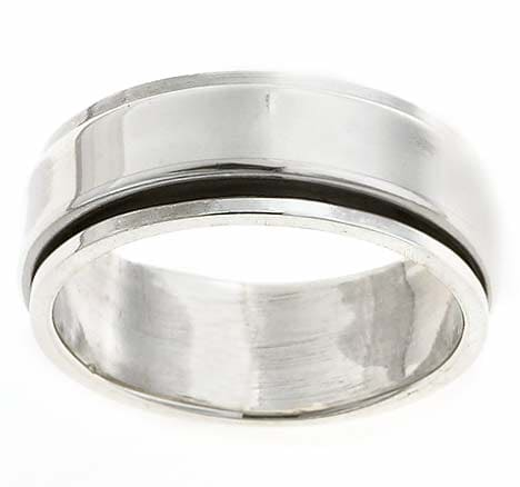 Sterling Silver Men's Pipe-cut Spinner Ring