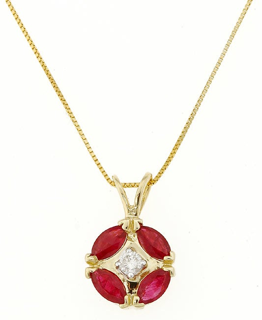 Eziba Collection 14k Yellow Gold Diamond Ruby Pendant at mygofer.com