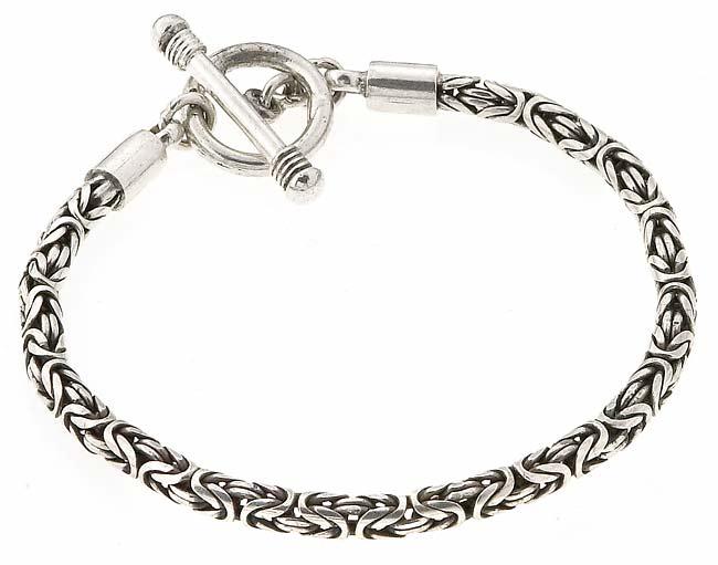 Sterling Silver Bali-style Toggle Bracelet