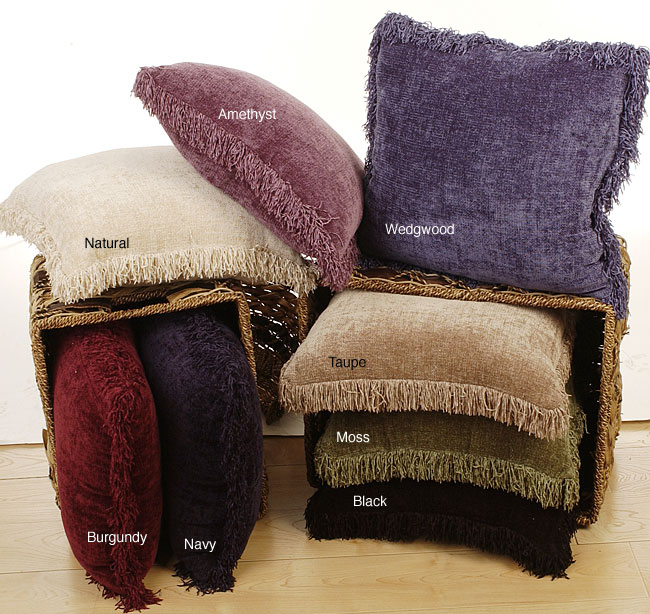 Chenille Fringed Throw Pillows Set