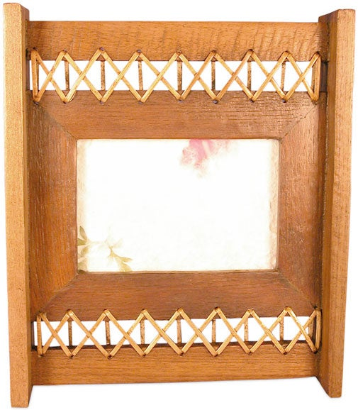 Teak Wood and Rattan Picture Frame (4 in. x 6 in.)