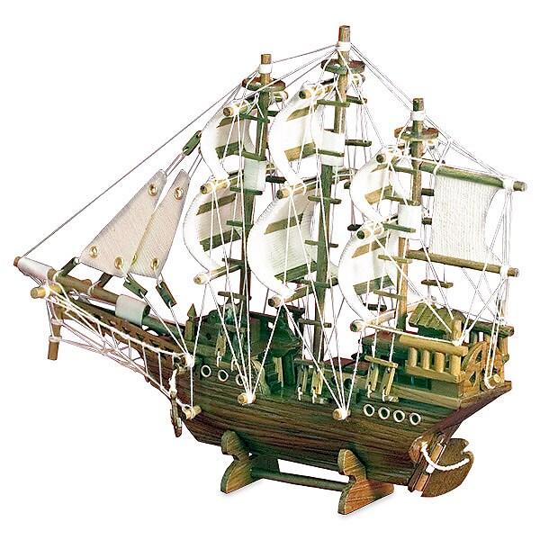 Handcrafted Teak Wood Sailboat