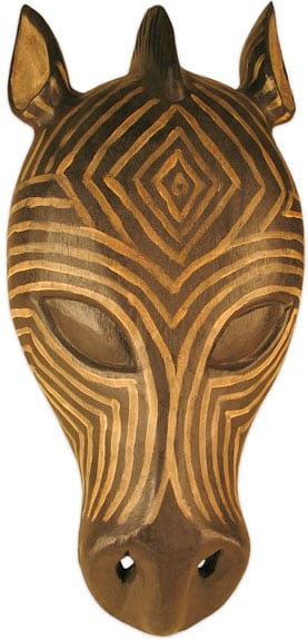 Zebra Tribal Mask Wall Hanging