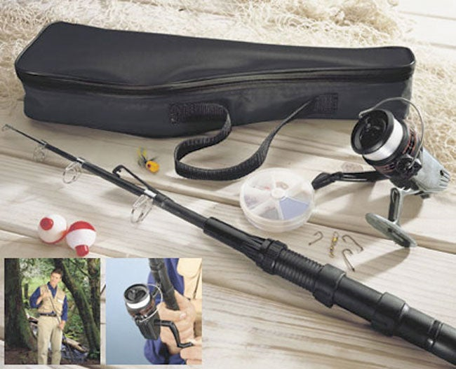 Telescoping fishing rod reel tackle kit 959372 for Best collapsible fishing rod