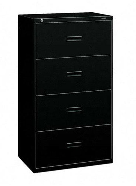 Hon Black 4 Drawer Locking Lateral File