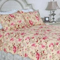 Lelia Pink Rose Cottage Cotton Full/ Queen-size 3-piece Quilt Set