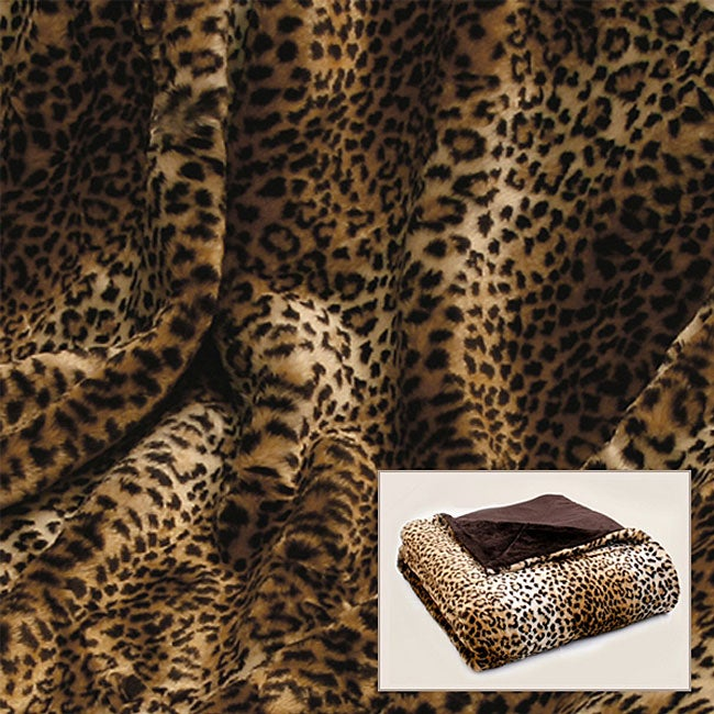 Aurora Home Leopard Print Faux Fur Throw