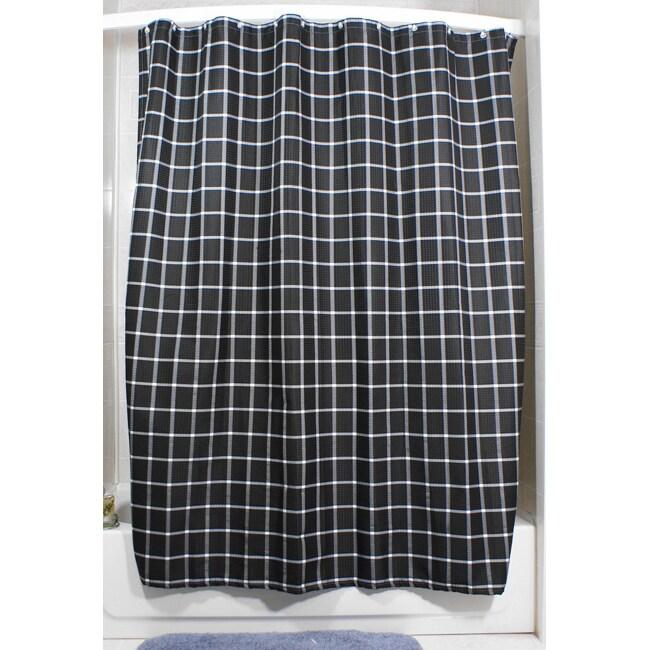 lincoln black grid shower curtain 13970314 shopping