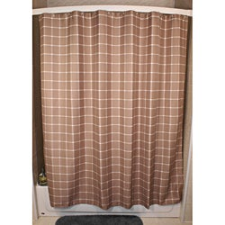 Lincoln Khaki Grid Shower Curtain