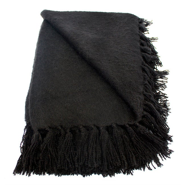 Liz Black Acrylic Mohair Throw