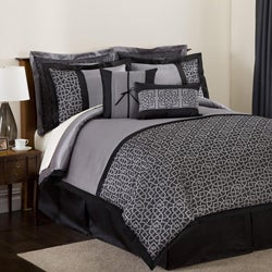 Lush Decor Black/ Silver Geometrica Gala 8-piece Comforter Set