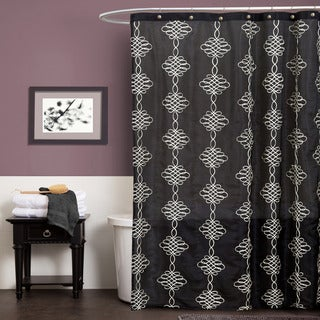 Lush Decor Celina Black Shower Curtain