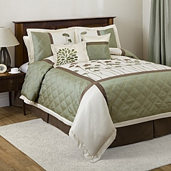 Lush Decor Dawn Ivory/Green 6-piece California King-size Comforter Set
