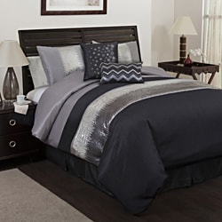 Lush Decor Grey/Black Night Sky 6-piece Comforter Set