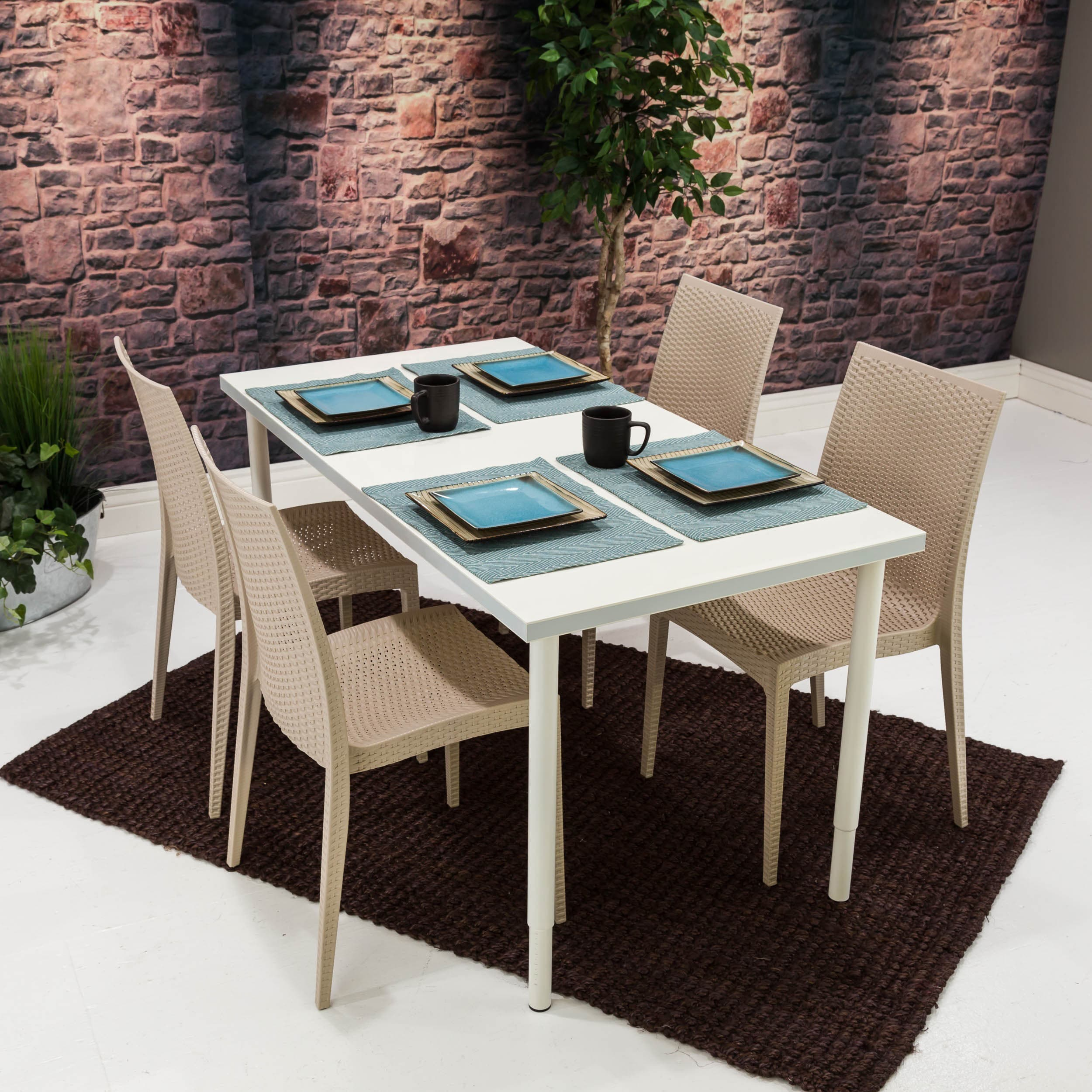 Somette Taupe Dining Wicker Chair (Set of 4)