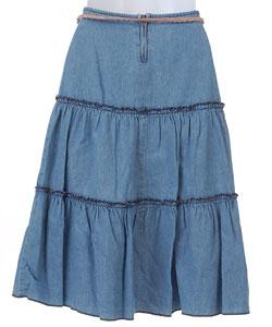 Jolt Girl's Denim Prairie Skirt