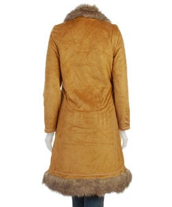 FiFi Faux Suede and Faux Fur Trimmed Long Trench Coat