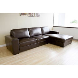Brown Bi-cast Leather Sectional Sofa