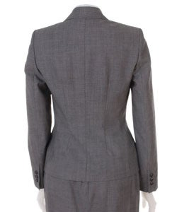 Anne Klein Petite Grey Wool Skirt Suit