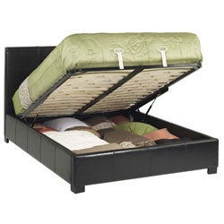 Leather Full-size Lift Storage Bed