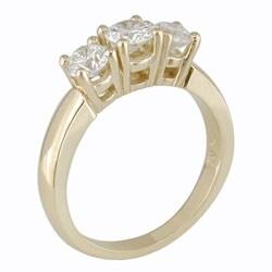 14kt Yellow Gold 1ct TDW Round Diamond Three-Stone Ring (H-I, I2-I3)
