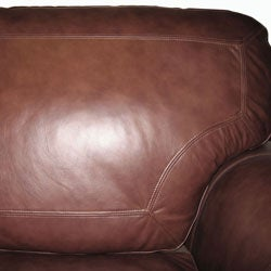 Luxurious Brown Leather Sofa and Loveseat