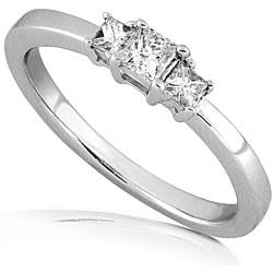 14k Gold 1/4ct TDW Princess Diamond 3-stone Ring (H-I, I1-I2)