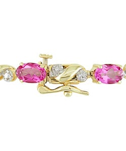 10k Gold Diamond and Pink Topaz Bracelet