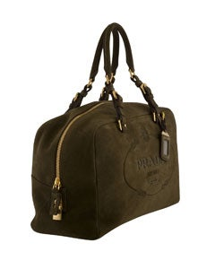 prada tan leather bag - Prada Suede Double Handle Satchel Handbag - 10491849 - Overstock ...