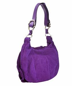 YSL Purple Suede Ruffle Flower Handbag - 10515574 - Overstock.com ...