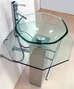 Pedestal Glass Sink with Stainless Steel Stand