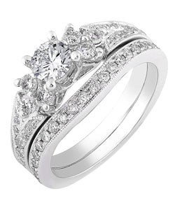 14k White Gold 1ct TDW Round Diamond Wedding Set (H-I, I1-I2)