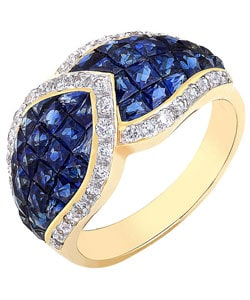 18k Gold 2/5ct TDW Diamond Sapphire Cocktail Ring (G-H, VS-SI)