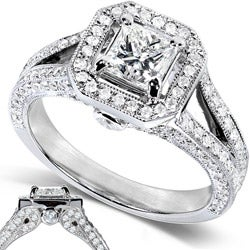 14k White Gold 1-1/3ct TDW Princess Cut Diamond Halo Wedding Ring