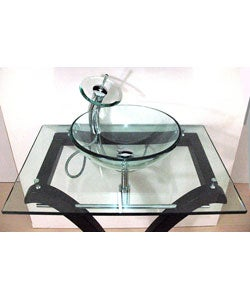 Pedestal Glass Bathroom Vanity and Faucet