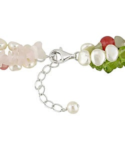 Miadora New York Pearls White FW Pearl and Multi-gemstone Necklace (5.5-6 mm)
