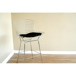 Tomkin Mesh Bar Stool with Leatherette Seat Pad