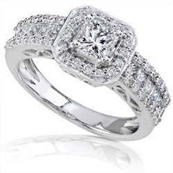 14k White Gold 1 1/4ct TDW Diamond Halo Engagement Ring (H-I, I1-I2)