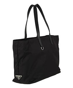 Prada Nylon Tote Bag with Leather Trim