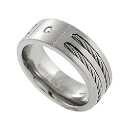 Titanium Cord Diamond Men's Wedding Band