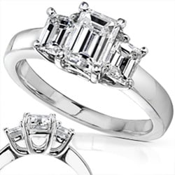 14k White Gold 1 5/8ct TDW Emerald-cut Diamond Engagement Ring ( H-I, SI )
