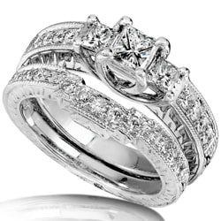 14k White Gold 1ct TDW Diamond Bridal Rings Set (HI, I1-I2)