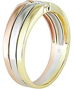 14k Tri-tone Gold and 1/6ct Diamond Ring (H-I, I1-I2)