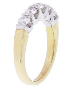 14k Two-tone Gold 1ct TDW Diamond 5-stone Ring (G, I1)