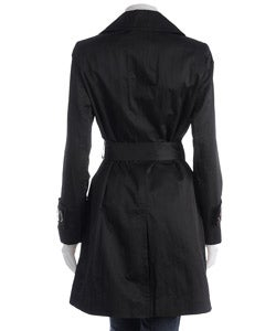 Anne Klein Black Double-breasted Lightweight Trench Coat