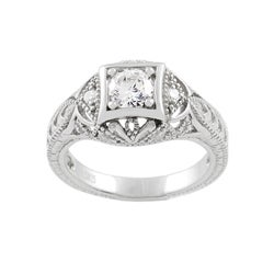 Sterling Silver Pave Style Round Cut CZ Ring