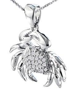 14k White Gold 1/6ct TDW Diamond Crab Necklace (I-J, I1-I2)