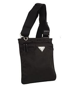 Prada Mini Black Nylon Flat Messenger Bag - 11061366 - Overstock ...